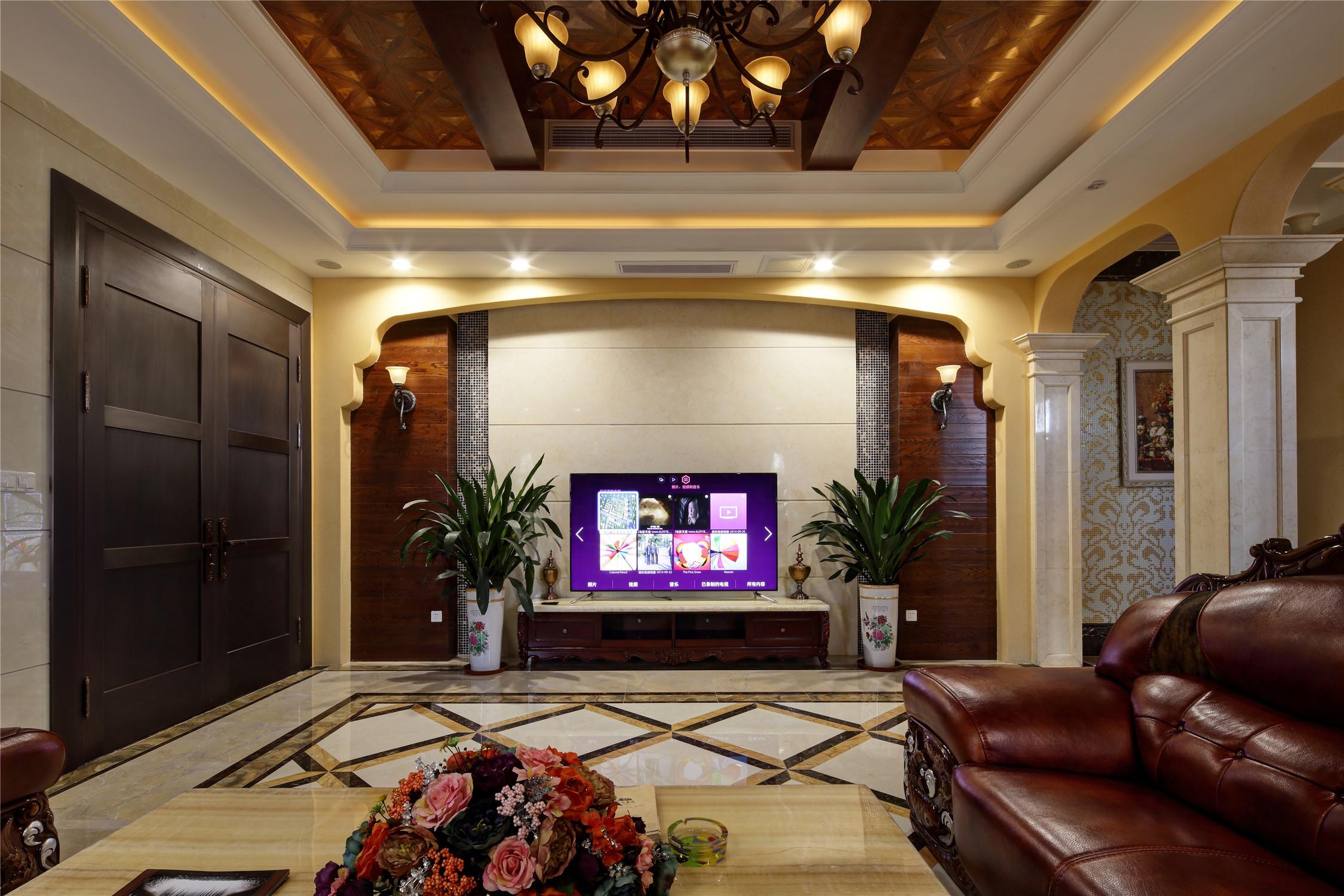 美式风格别墅装修电视背景墙图片