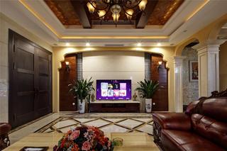 美式風格別墅裝修電視背景墻圖片