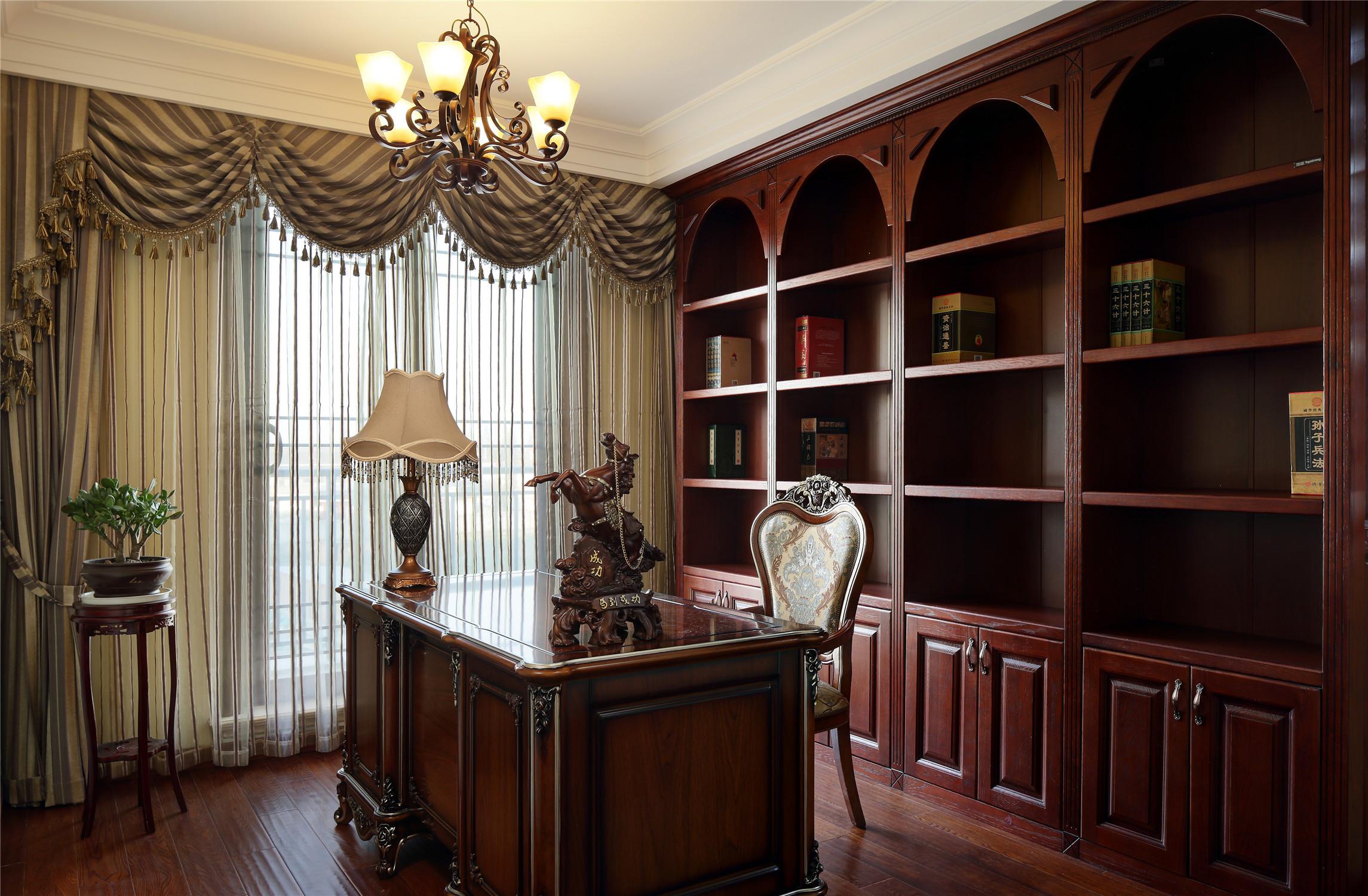美式风格别墅装修书房效果图