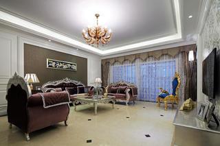 大戶型新古典風格裝修沙發背景墻圖片
