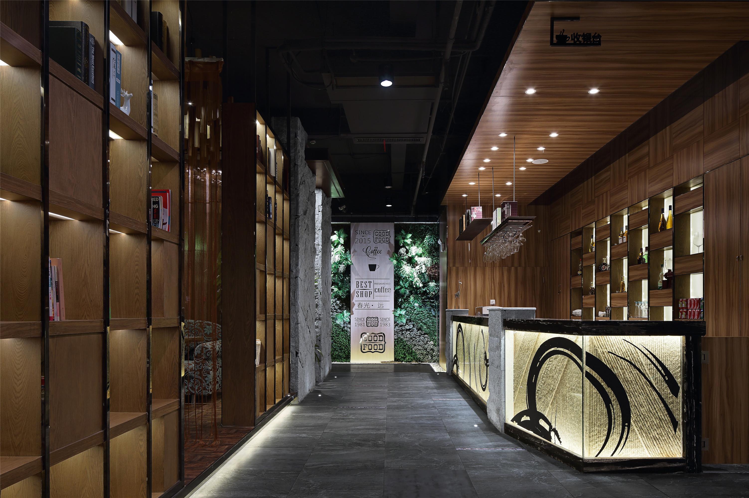创意休闲咖啡厅装修门厅效果图
