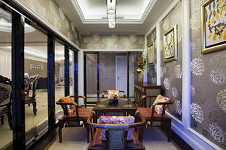 大户型新古典风格装修茶室布置图