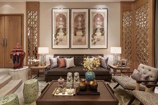 中式别墅装修沙发背景墙图片
