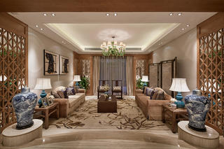 中式别墅装修会客厅效果图