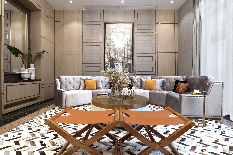 现代别墅装修沙发背景墙图片