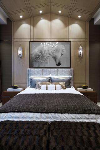 现代别墅装修卧室背景墙图片