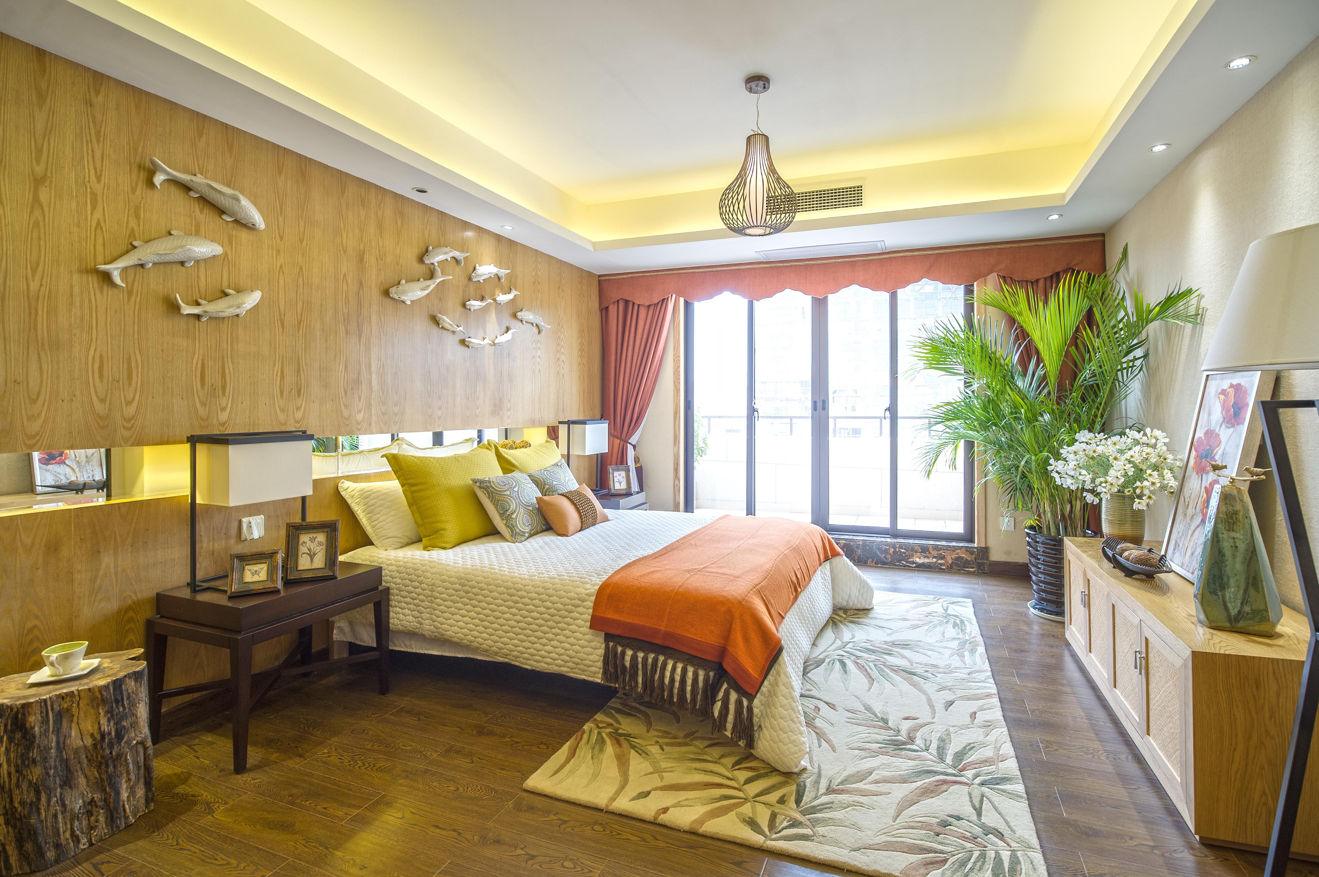 130平东南亚风情装修卧室设计图