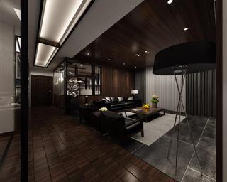 130平中式装修客厅过道设计