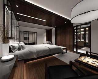 130平中式装修卧室吊顶设计