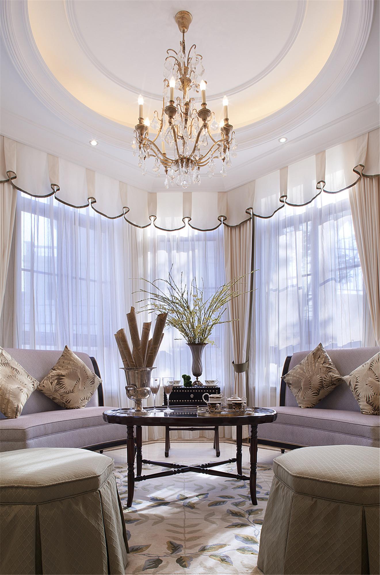 现代欧式风格别墅装修会客厅效果图