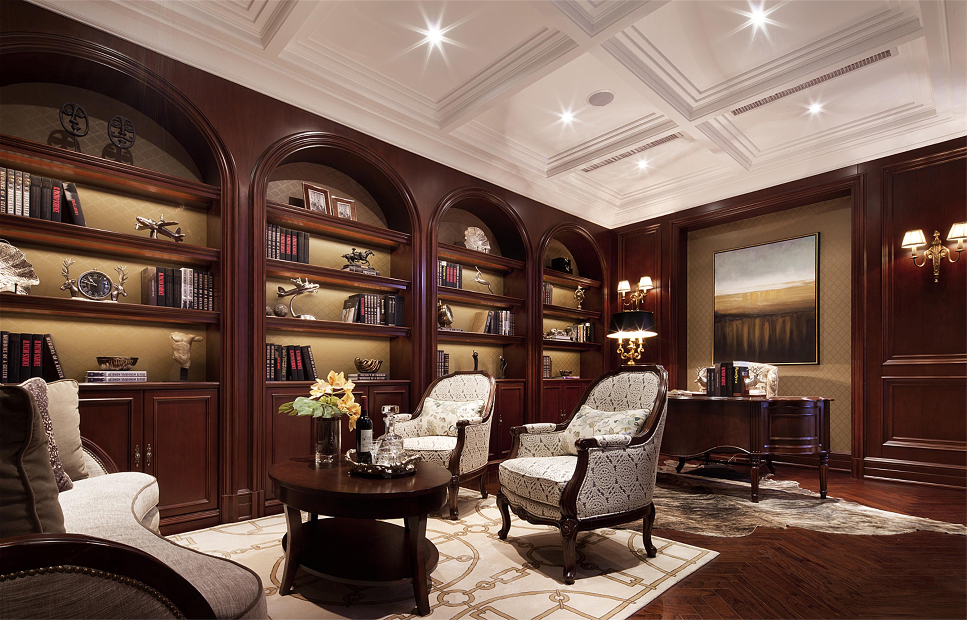 现代欧式风格别墅装修书房效果图