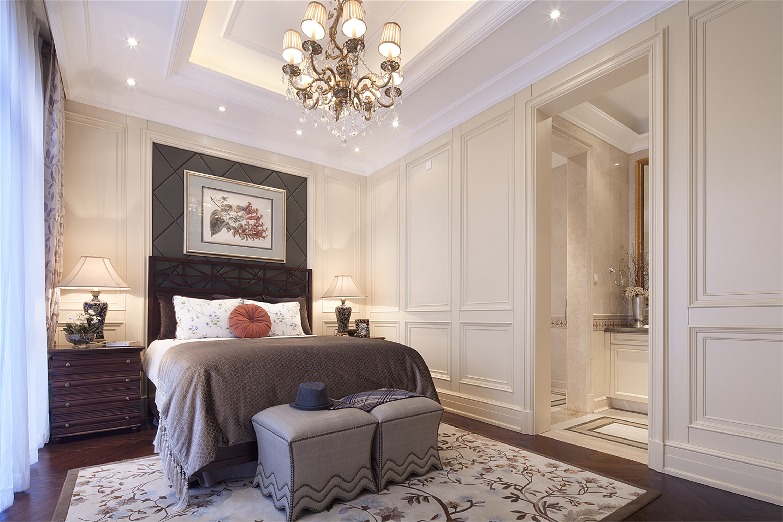 现代欧式风格别墅装修卧室效果图