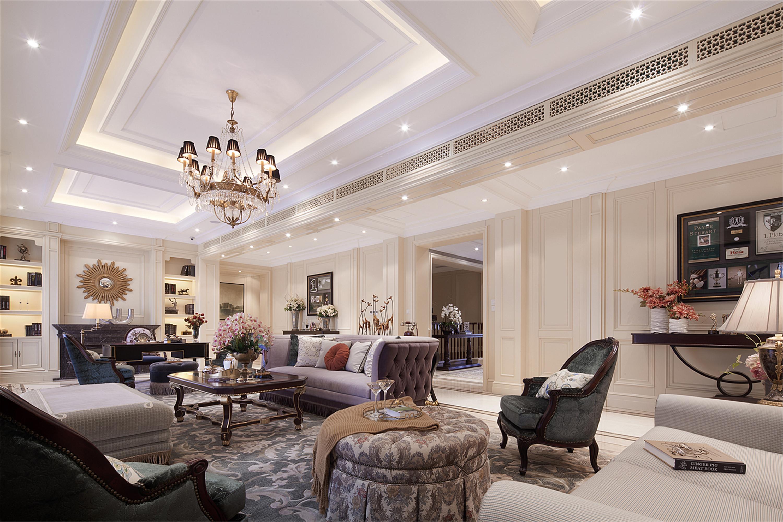 现代欧式风格别墅装修客厅效果图