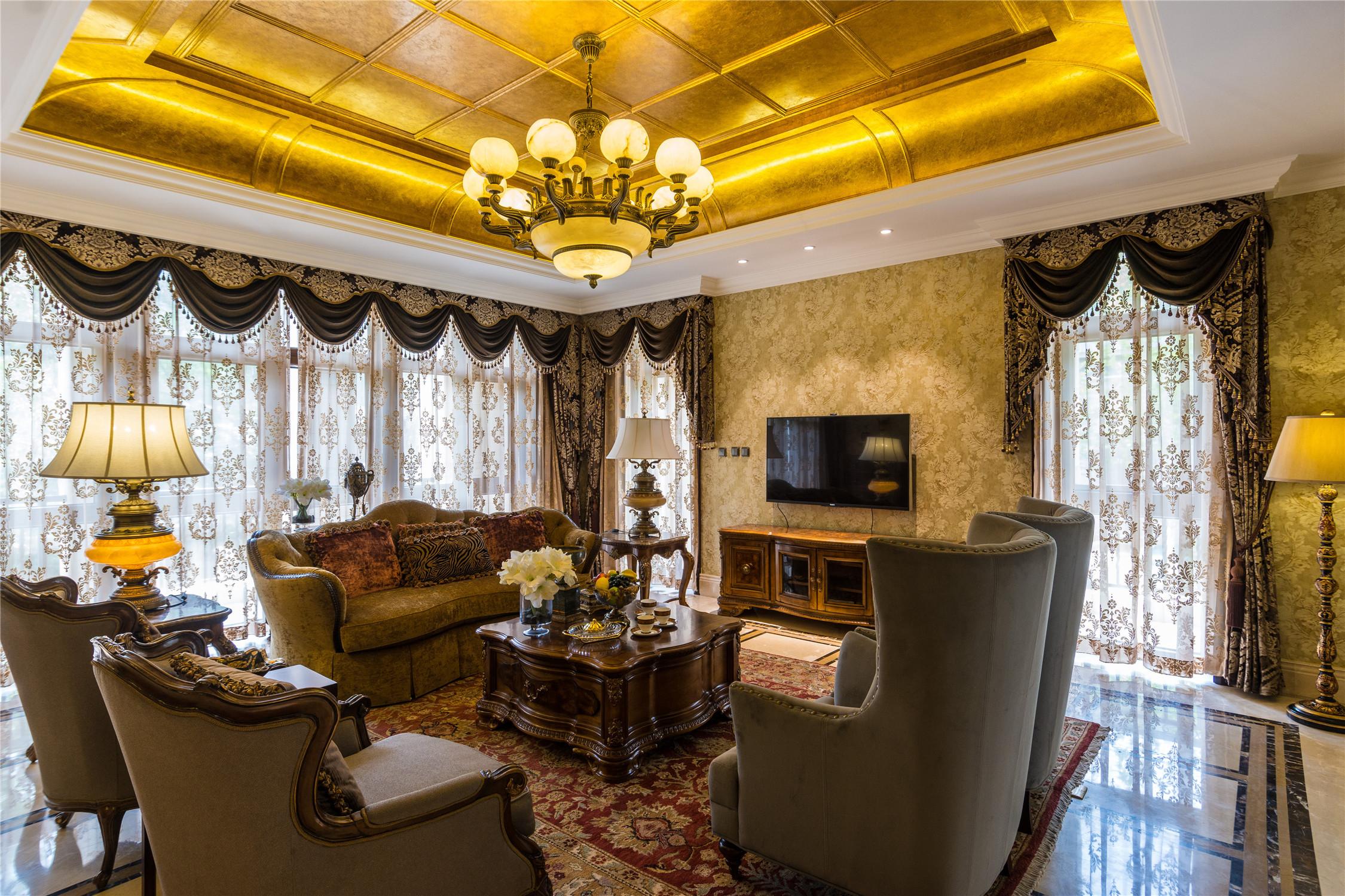 经典欧式别墅装修客厅效果图