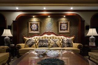 美式别墅装修设计沙发背景墙图片