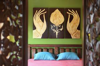 小户型东南亚风格装修床头背景墙图片
