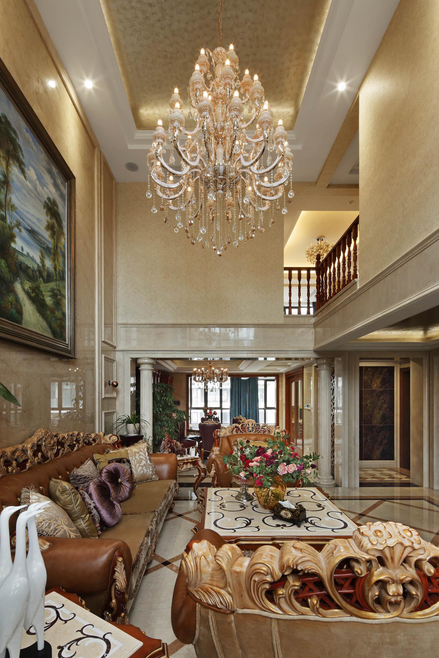 豪华欧式别墅装修客厅布置图