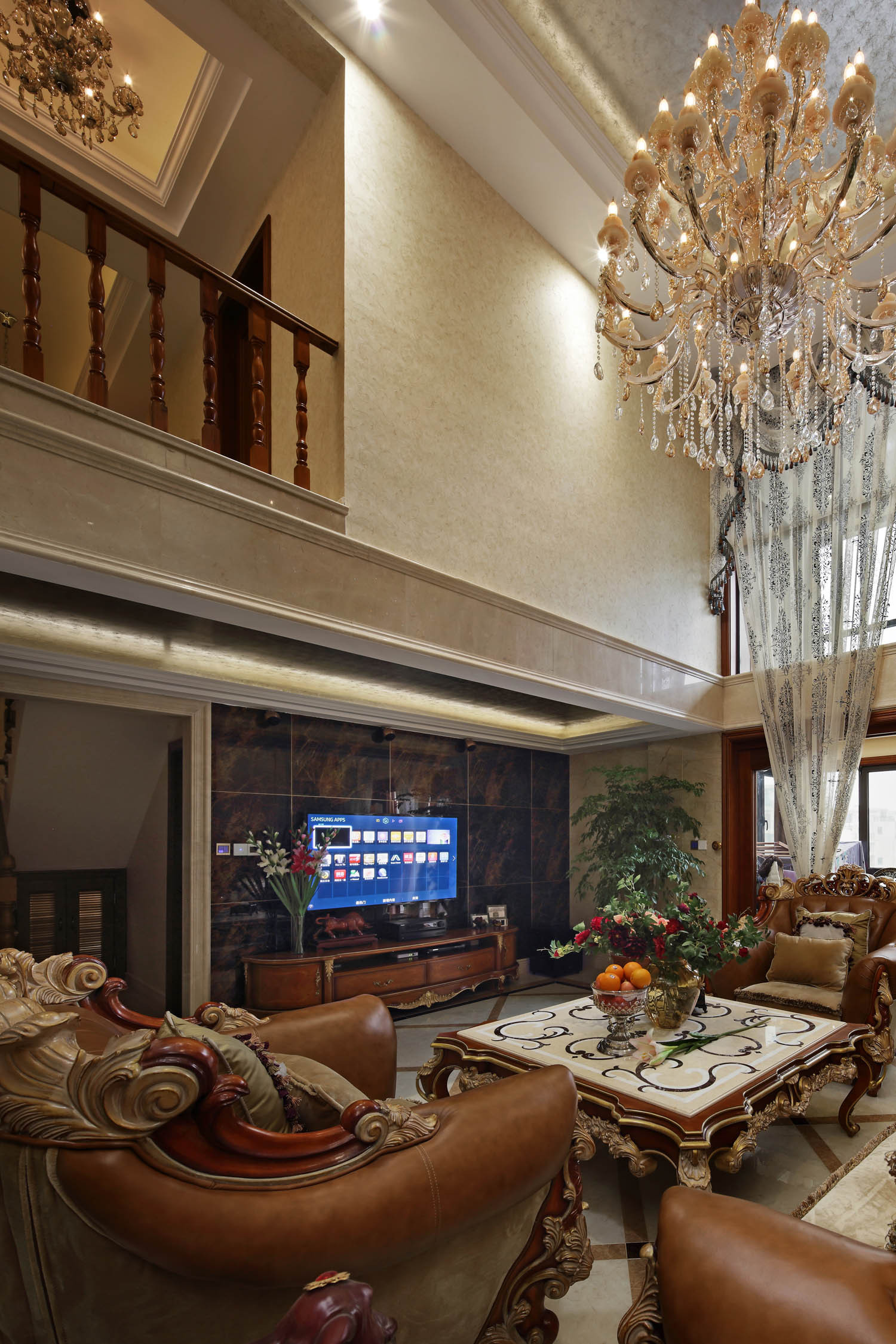 豪华欧式别墅装修电视背景墙图片