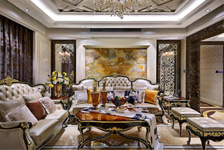 大户型新古典装修沙发背景墙图片