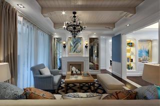100平地中海风格装修客厅吊顶