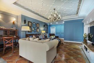 美式风格四居装修客厅顶面造型图