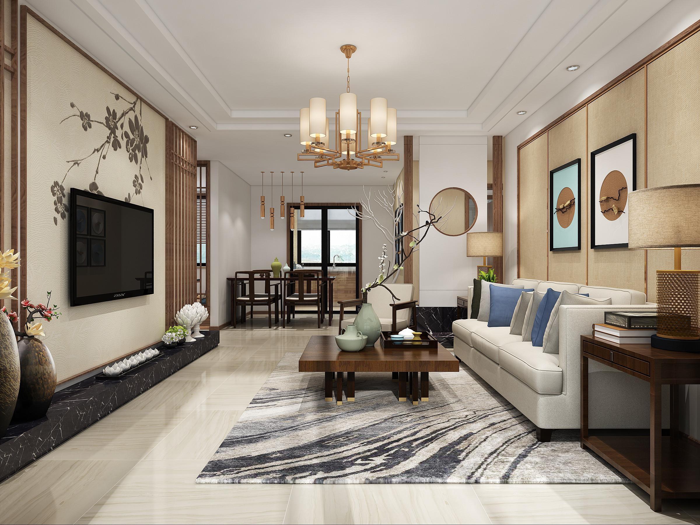 中式三居装修客厅效果图