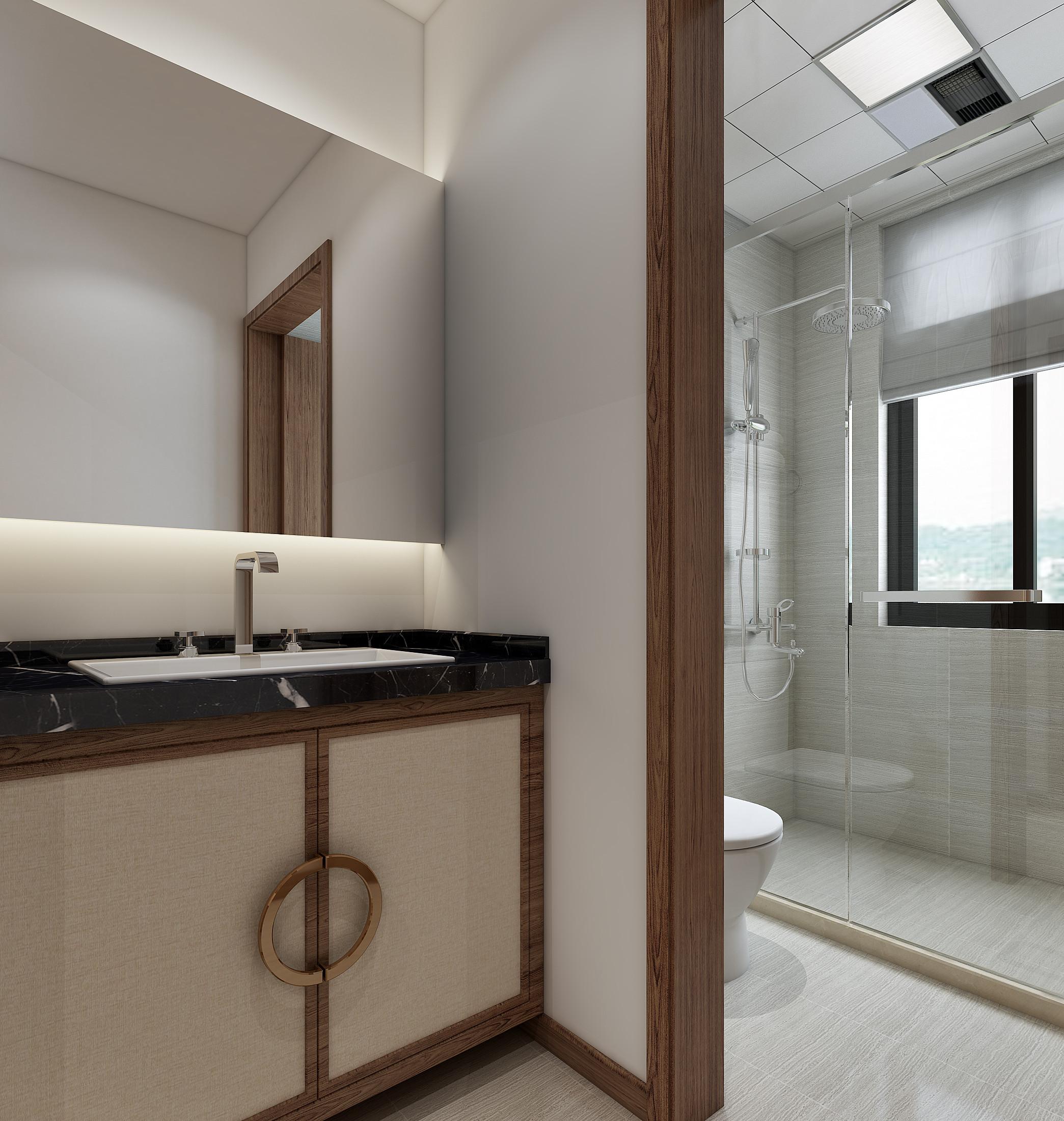 中式三居装修卫生间效果图