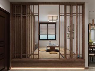 中式三居装修书房效果图