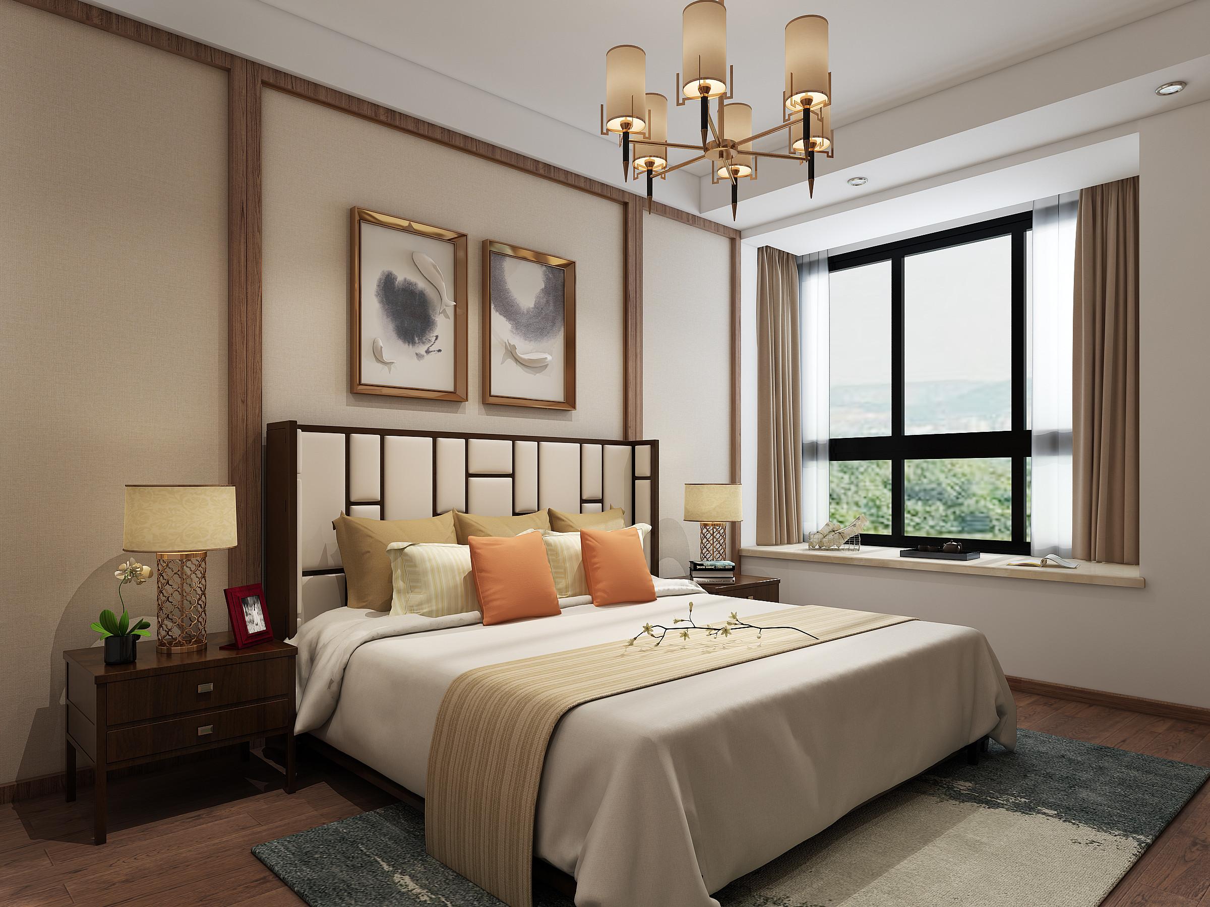 中式三居装修卧室背景墙图片