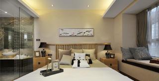 128平中式装修床头背景墙图片