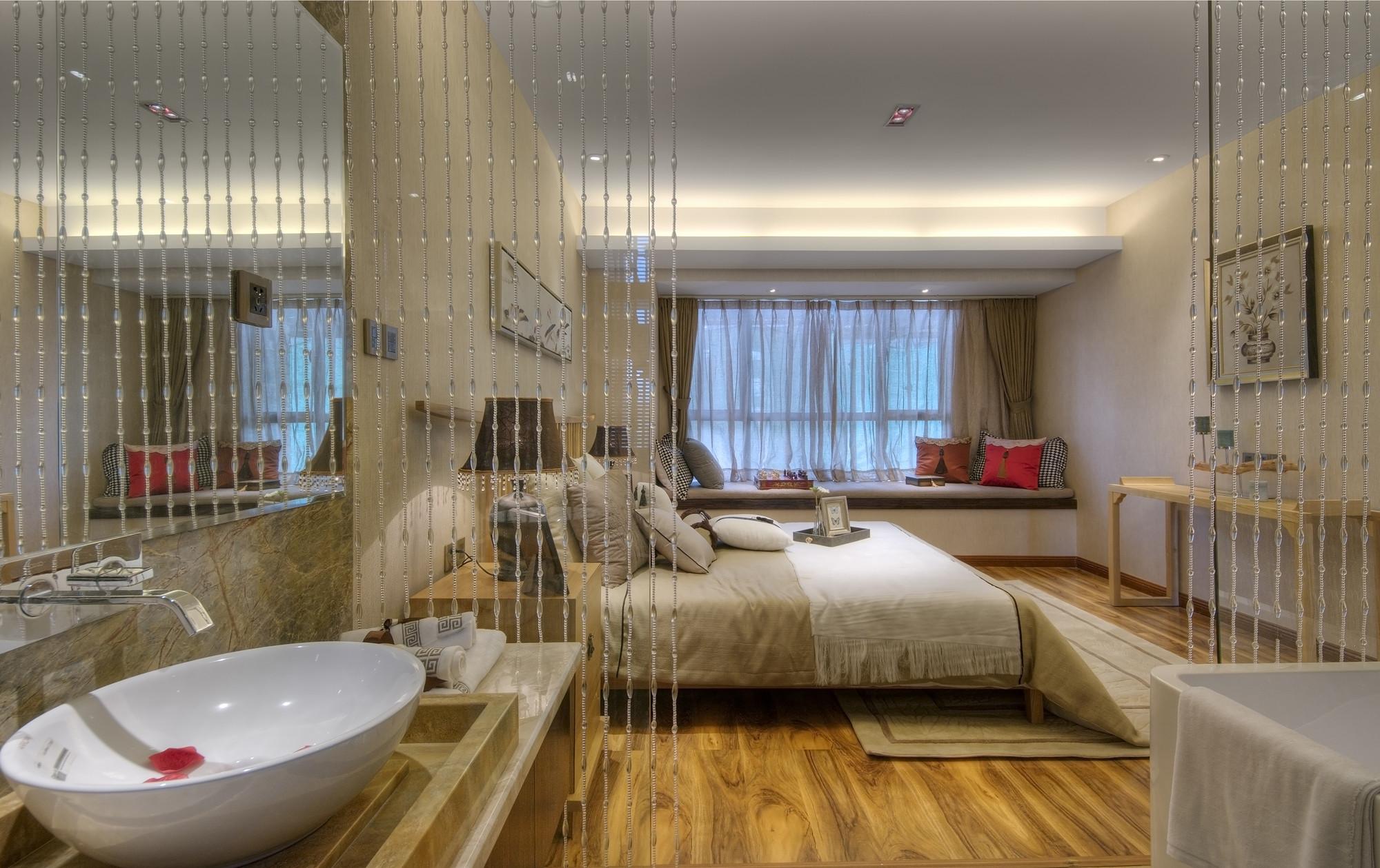 128平中式装修卧室效果图