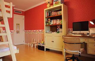 美式风格三居装修儿童房学习区