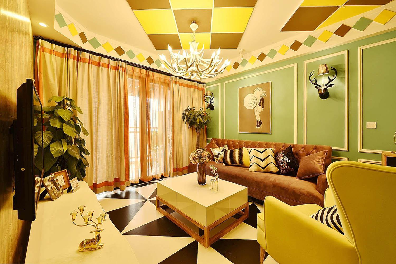 70平波普风格装修沙发背景墙图片