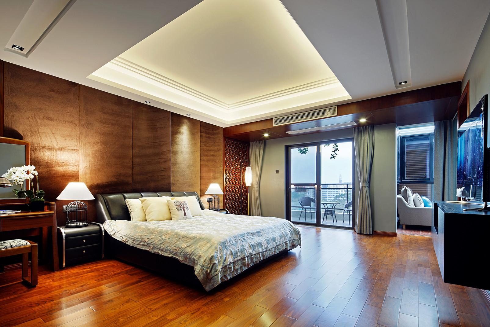 中式别墅装修设计卧室吊顶