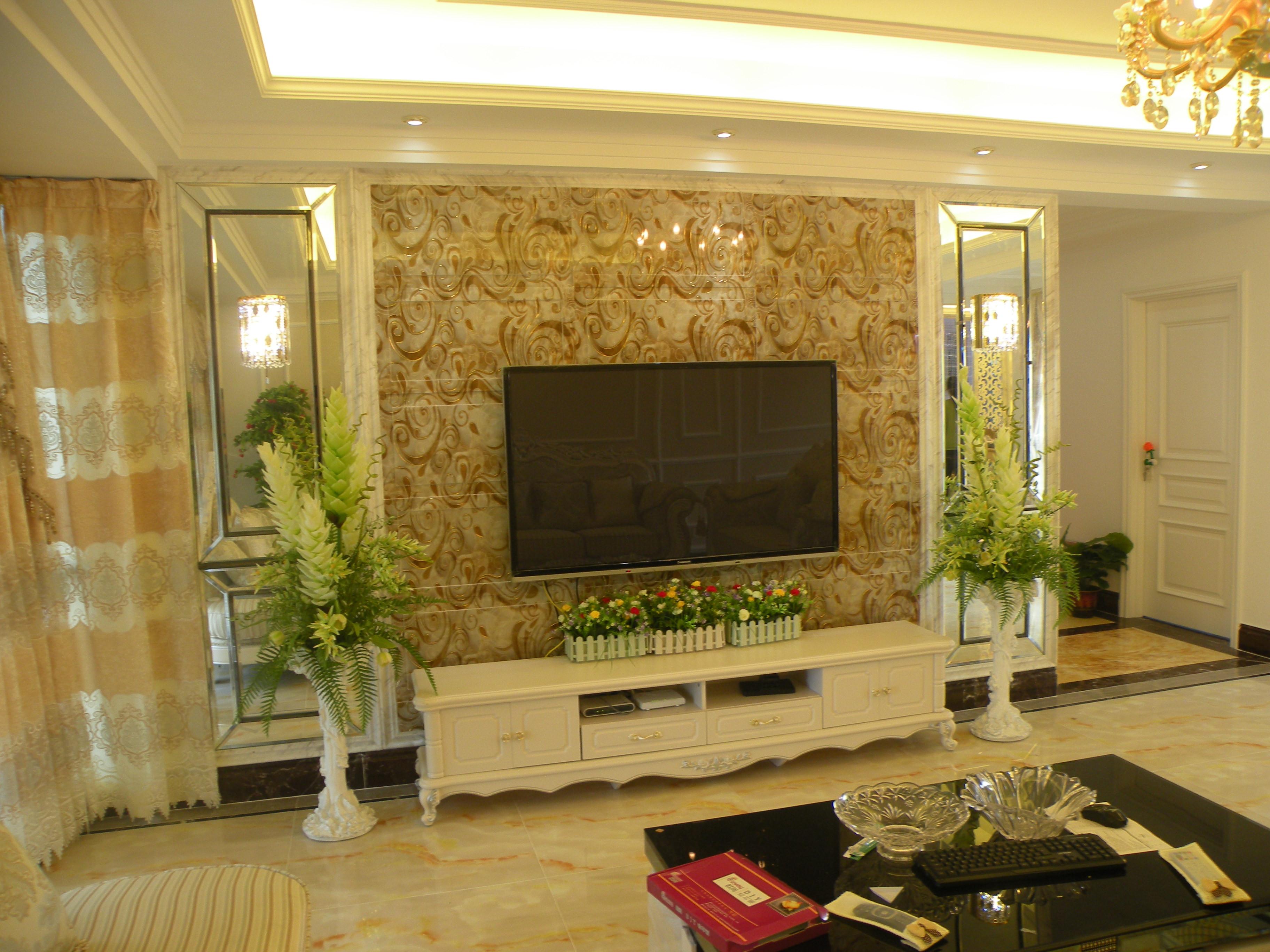 150平欧式风格装修电视背景墙图片