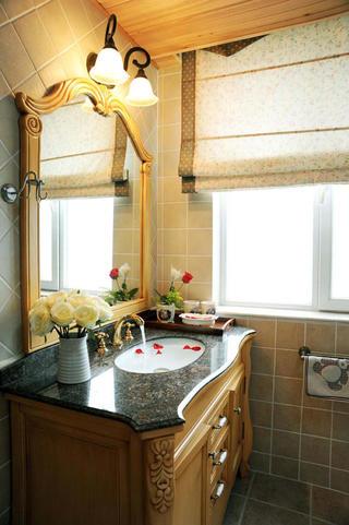美式乡村三居室装修洗手台图片