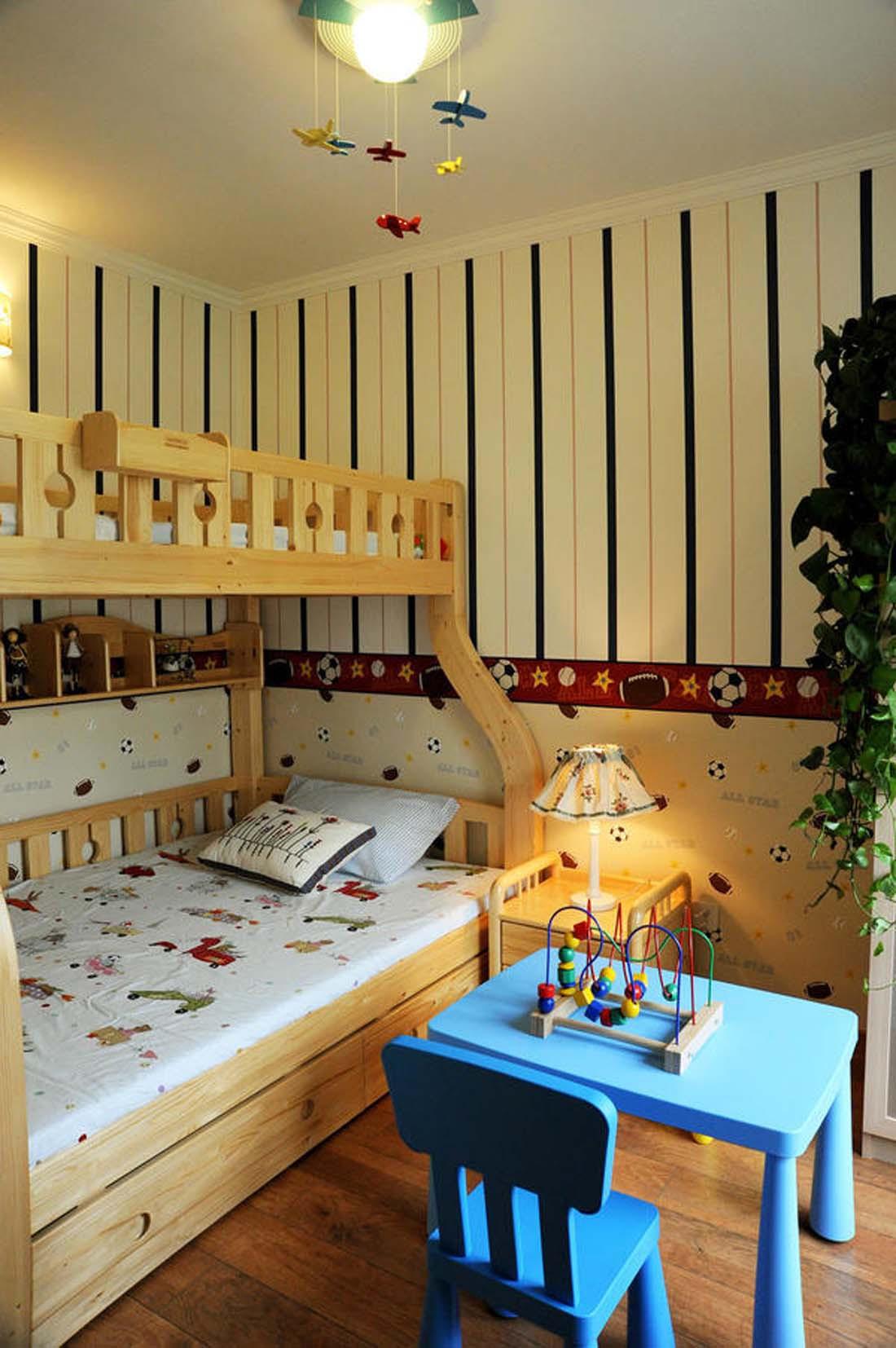 美式乡村三居室装修儿童房设计图