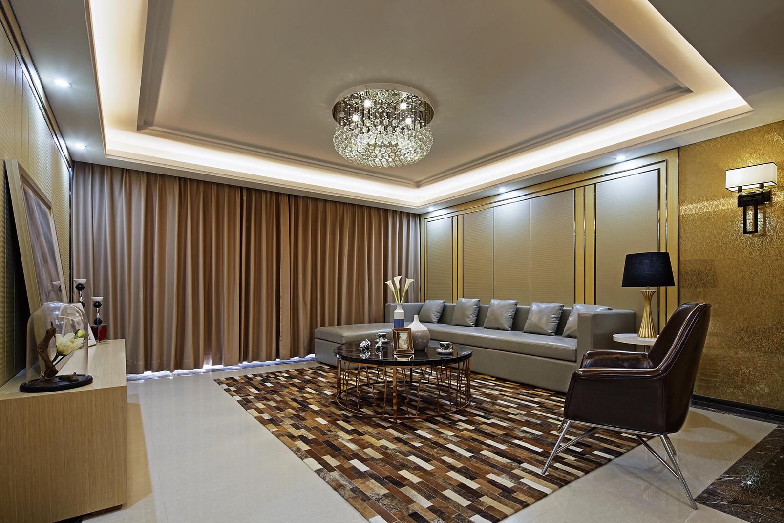 现代时尚三居客厅吊顶设计