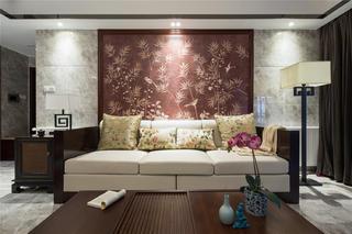 中式三居装修沙发背景墙图片