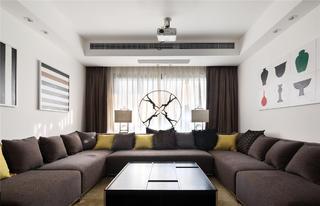 简约中式别墅装修会客厅布置图
