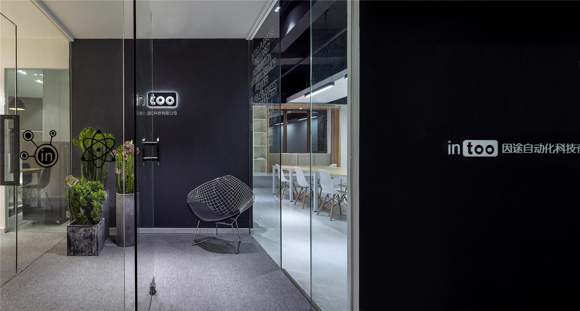 黑白极简办公室装修门厅效果图