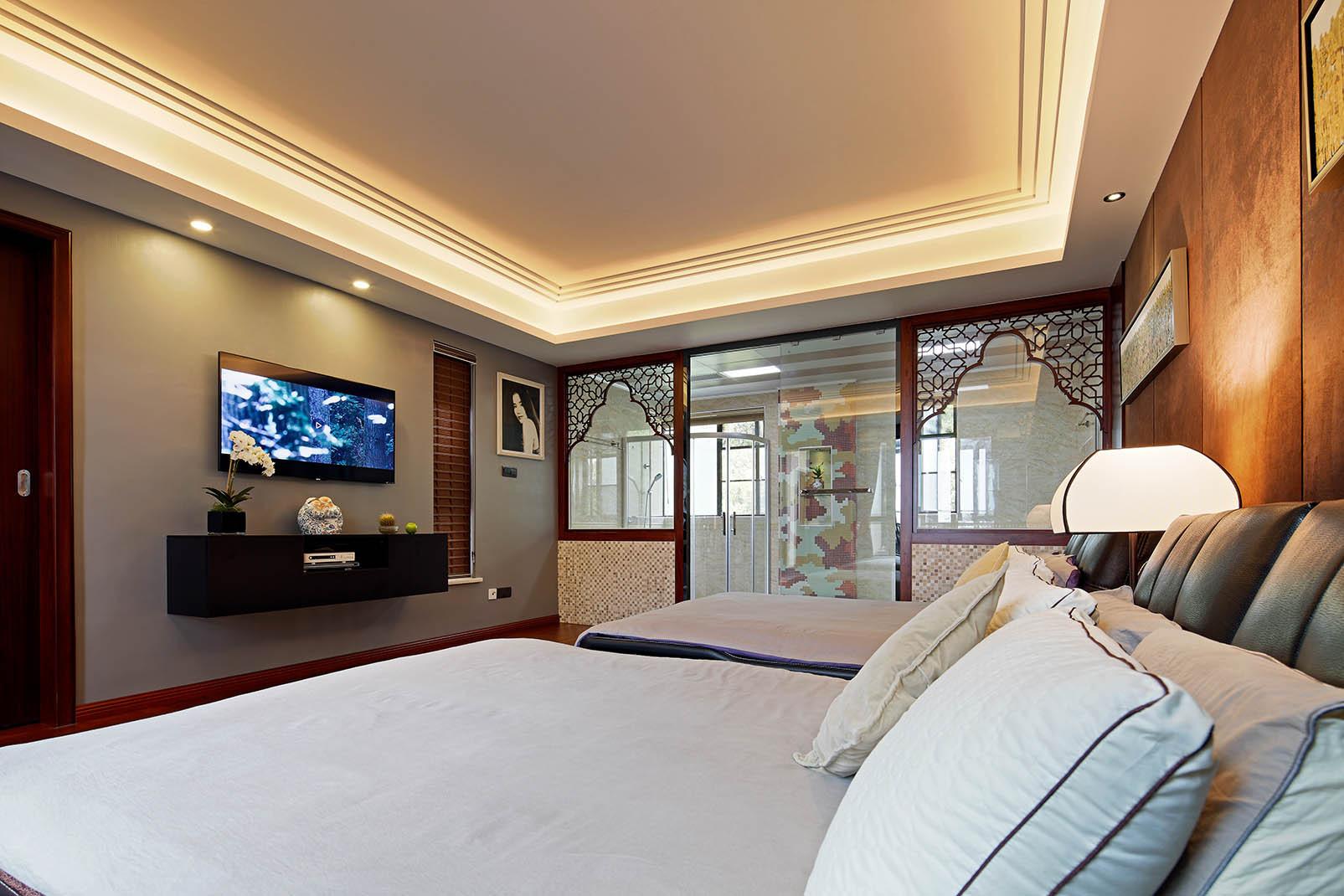 中式别墅装修床品图片