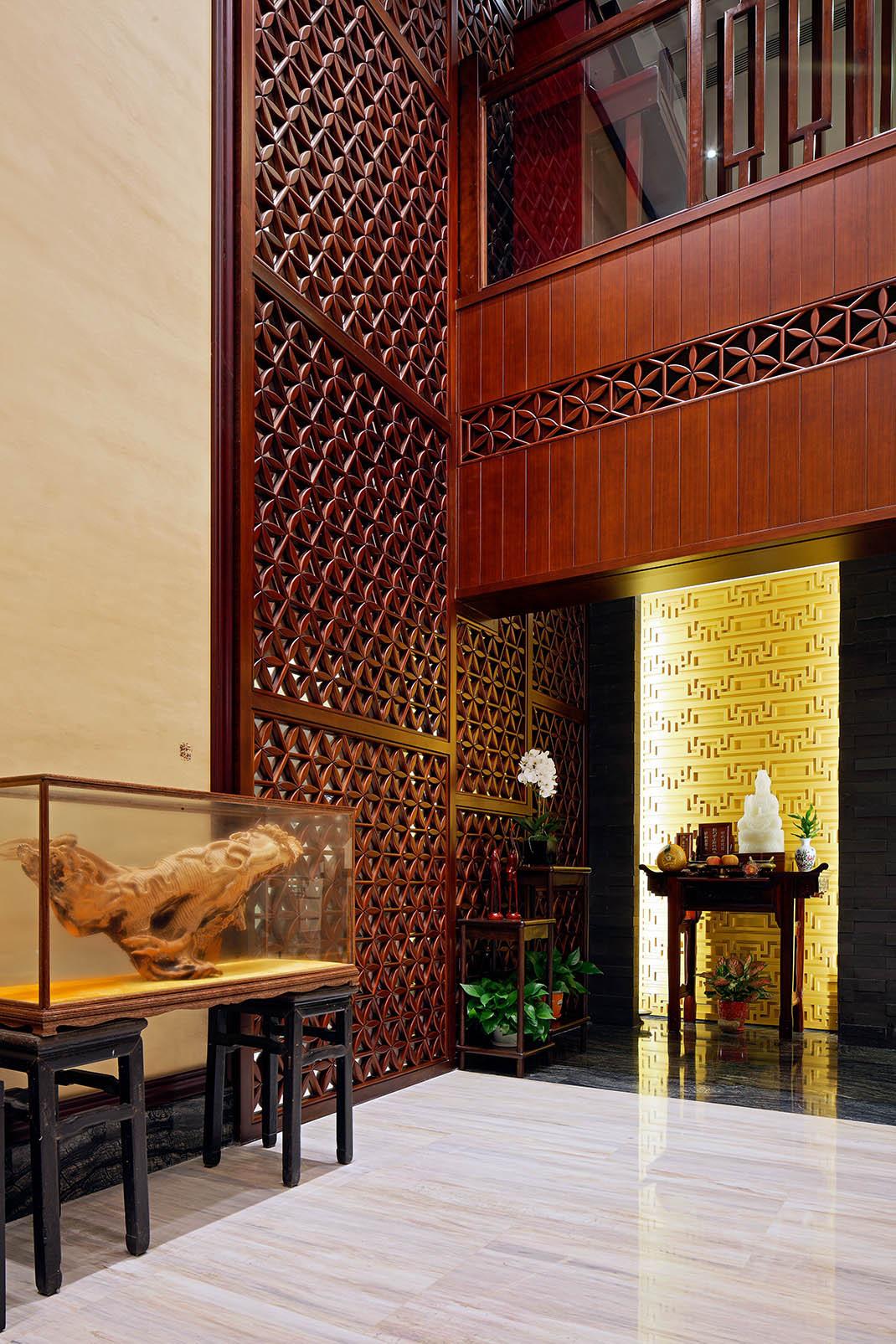中式别墅装修玄关效果图