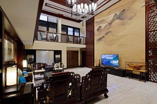 中式别墅装修客厅全景图