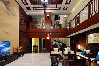 中式别墅装修客厅过道