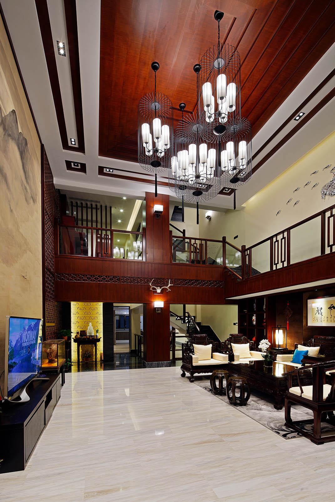 中式别墅装修客厅吊顶设计