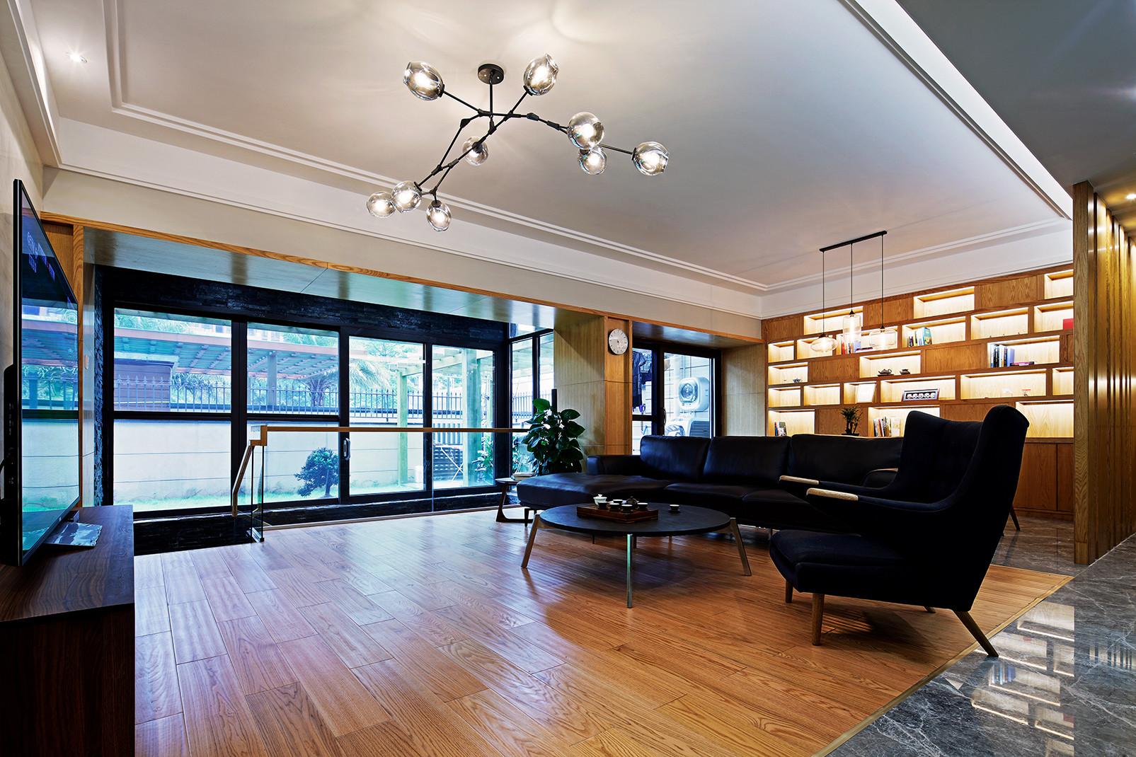 大户型简约复式装修客厅效果图