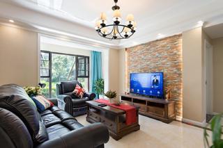 120平美式风格装修电视背景墙图片