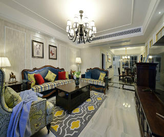 三居室美式装修沙发背景墙图片