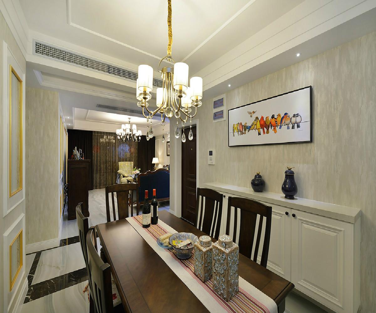 三居室美式装修吊灯图片